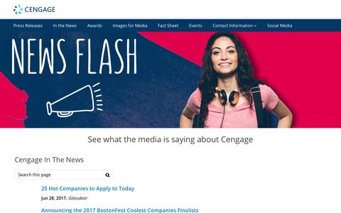 Screenshot of Press Page cengage.com - In The News   | Cengage - captured Aug. 4, 2017