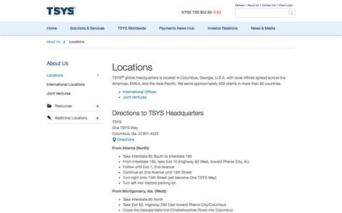 Screenshot of Locations Page tsys.com - TSYS Locations and Corporate Headquarters Driving Directions - captured April 3, 2017