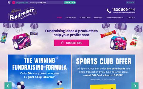 Screenshot of Home Page fundraising.com.au - Fundraising ideas and products in Australia for schools, clubs, and business | Cadbury Fundraising - captured June 23, 2016