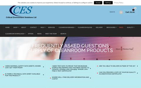 Screenshot of FAQ Page criticalenvironmentsolutions.co.uk - Cleanroom Products Frequently Asked Questions - captured Sept. 30, 2018
