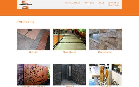 Screenshot of Products Page graniteworks.com.au - Products - captured Sept. 30, 2014