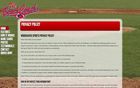 Screenshot of Privacy Page thebenchcoach.com - Privacy Policy - The Bench Coach - captured Sept. 30, 2014