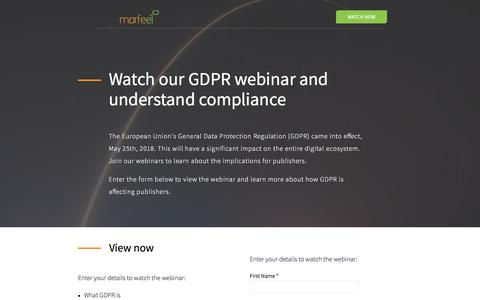 Screenshot of Landing Page marfeel.com - Attend our GDPR webinar and understand compliance - captured Sept. 22, 2018