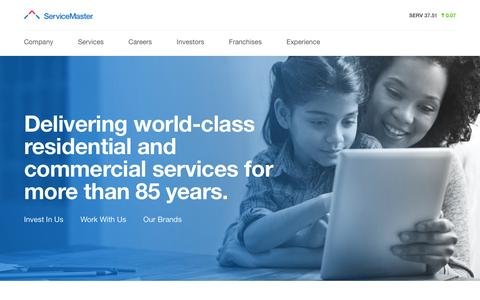 Screenshot of Home Page Landing Page servicemaster.com - ServiceMaster - captured Aug. 8, 2016