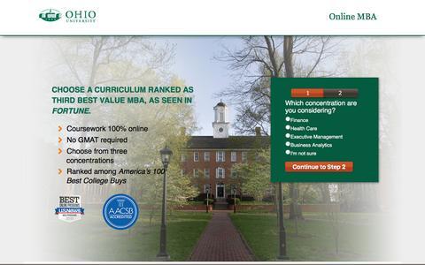 Screenshot of Landing Page ohio.edu - Online MBA | Ohio University - captured March 22, 2016