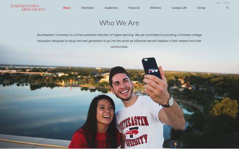 Screenshot of About Page seu.edu - About Southeastern University in Lakeland, Florida - captured Oct. 14, 2017
