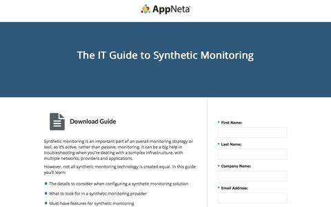 Screenshot of Landing Page appneta.com - The IT Guide to Synthetic Monitoring | AppNeta - captured March 1, 2018