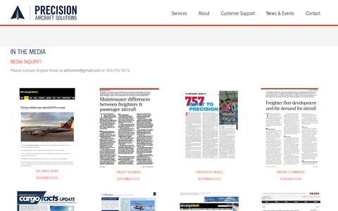 Screenshot of Press Page precisionaircraft.com - IN THE MEDIA - Precision Aircraft - captured Nov. 10, 2016