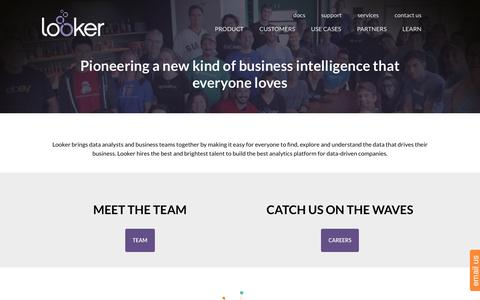 Screenshot of About Page looker.com - Company | Looker | Looker Data Sciences - captured March 19, 2016