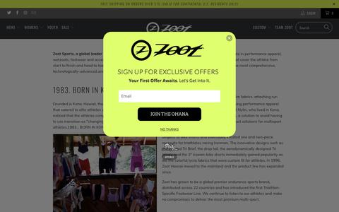 Screenshot of About Page zootsports.com - About Us - Zoot Sports - captured Sept. 23, 2018