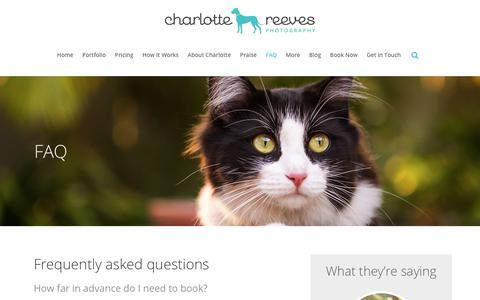 Screenshot of FAQ Page charlottereeves.com.au - Charlotte Reeves Photography |   FAQ - captured Sept. 27, 2018