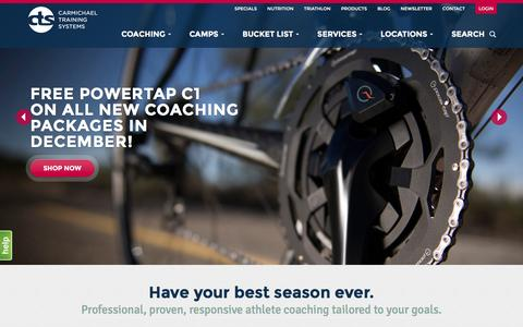 Screenshot of Home Page trainright.com - Carmichael Training Systems Coaching and Camps - captured Dec. 10, 2015