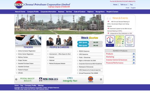 Screenshot of Home Page cpcl.co.in - ::Welcome to CPCL - captured Oct. 2, 2014