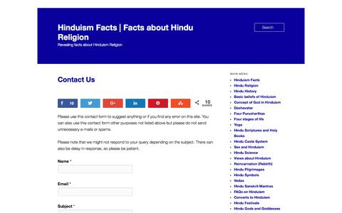 Screenshot of Contact Page hinduismfacts.org - Contact Us - captured June 25, 2017