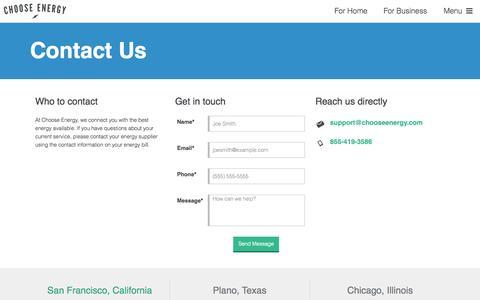 Contact Us - Choose Energy