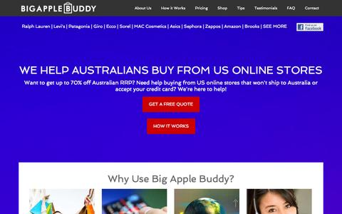Screenshot of Home Page bigapplebuddy.com - Big Apple Buddy - Helping you buy from US online stores - captured Sept. 30, 2014