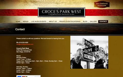 Screenshot of Contact Page crocesparkwest.com - Contact | Croce's Park West - captured Sept. 26, 2014