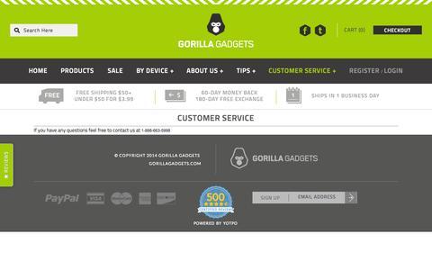 Screenshot of Support Page gorillagadgets.com - Customer Service - captured Sept. 19, 2014