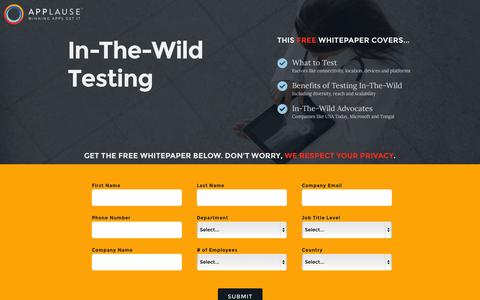 Screenshot of Landing Page applause.com - In-The-Wild Testing Whitepaper - Applause: 360° App Quality - captured Oct. 27, 2014