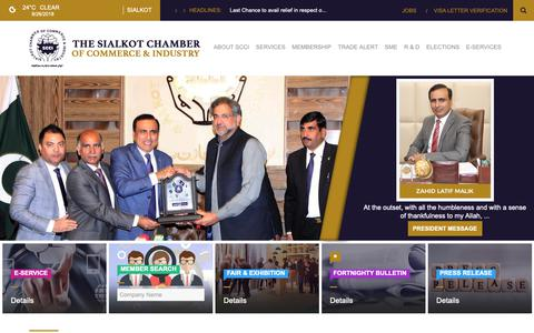 Screenshot of Home Page scci.com.pk - THE SIALKOT CHAMBER OF COMMERCE & INDUSTRY - captured Sept. 26, 2018