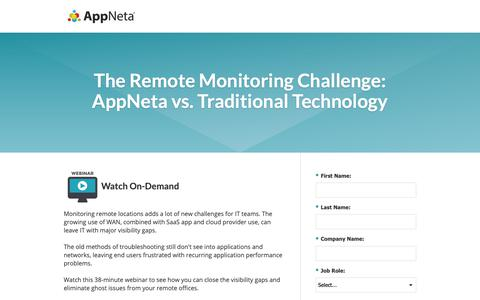 Screenshot of Landing Page appneta.com - The Remote Monitoring Challenge: AppNeta vs. Traditional Tech - captured Oct. 3, 2018