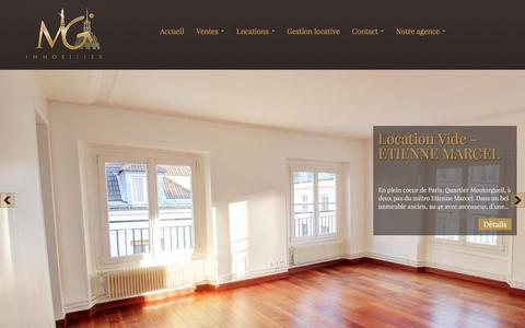 Screenshot of Home Page mgimmo.com - MASTER GESTION IMMOBILIER - Paris - captured Feb. 2, 2016