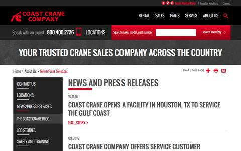 Screenshot of Press Page coastcrane.com - News and Press Releases - captured Nov. 8, 2016
