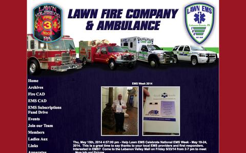 Screenshot of Home Page lawnfire.com - Lawn Fire & Ems - captured Oct. 2, 2014