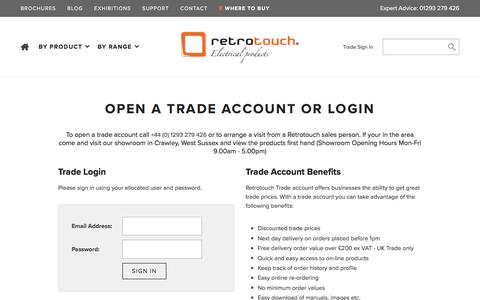 Screenshot of Signup Page retrotouch.co.uk - Trade Account Sign In - RetroTouch Designer Light Switches & Plug Sockets - captured Oct. 22, 2017