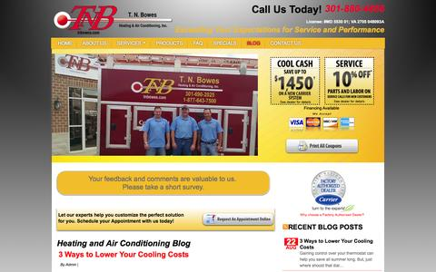 Screenshot of Blog tnbowes.com - Blog - Heating and Air Conditioning | Leonardtown MD - captured Oct. 9, 2014