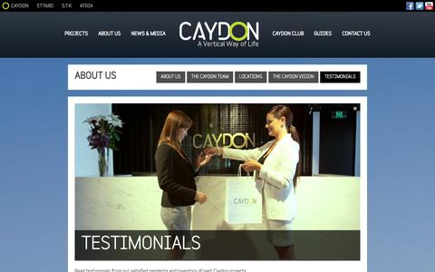 Screenshot of Testimonials Page caydon.com.au - What our clients say about our properties - Property Investment - captured Oct. 2, 2014