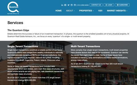 Screenshot of Services Page qreadvisors.com - Services - Quantum Real Estate Advisors, Inc - captured Sept. 26, 2018