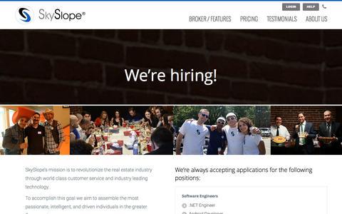 Screenshot of Jobs Page skyslope.com - Careers | SkySlope - captured Jan. 21, 2016