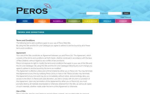 Screenshot of Terms Page peros.co.nz - Peros - High Quality Umbrellas NZ - captured June 28, 2016