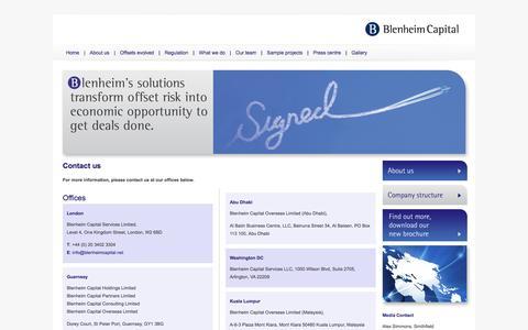 Screenshot of Contact Page blenheimcapital.net - Blenheim Capital Partners - captured Oct. 5, 2014