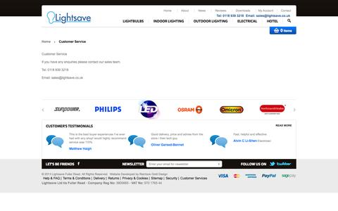 Screenshot of Support Page lightsave.co.uk - Customer Service - captured Oct. 3, 2014