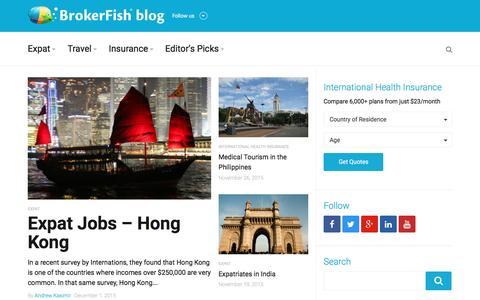 Screenshot of Blog brokerfish.com - BrokerFish Expat, Travel and International Health Insurance Blog - captured Jan. 7, 2016