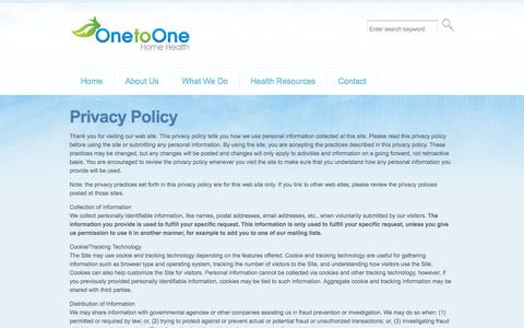 Screenshot of Privacy Page onetoonehomehealth.ca - One to One Home Health Care | Privacy Policy - captured Oct. 26, 2014