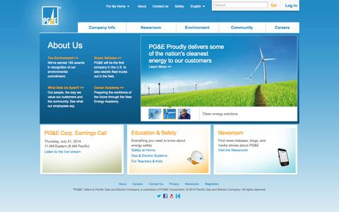Screenshot of About Page pge.com - About Us - captured Sept. 18, 2014