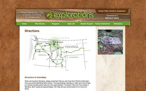 Screenshot of Maps & Directions Page explorationsmt.com - Directions | Welcome to Explorations! - captured Oct. 3, 2014
