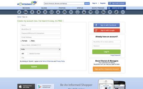 Screenshot of Signup Page mouthshut.com - Login Page - MouthShut.com - captured Oct. 26, 2014