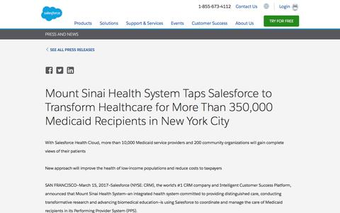Screenshot of Press Page salesforce.com - Mount Sinai Health System Taps Salesforce to Transform Healthcare for More Than 350,000 Medicaid Recipients in New York City - Salesforce.com - captured Oct. 21, 2019