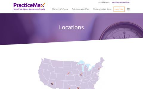 Screenshot of Locations Page practicemax.com - Locations - PracticeMax - captured Sept. 29, 2018