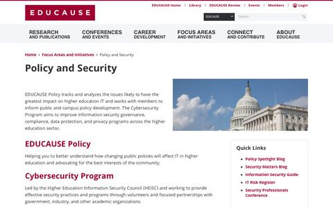 Policy and Security | EDUCAUSE