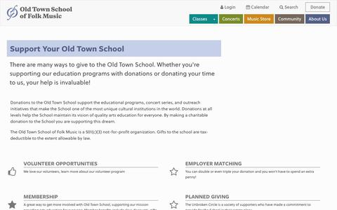 Screenshot of Support Page oldtownschool.org - Support the Old Town School - captured Sept. 24, 2018