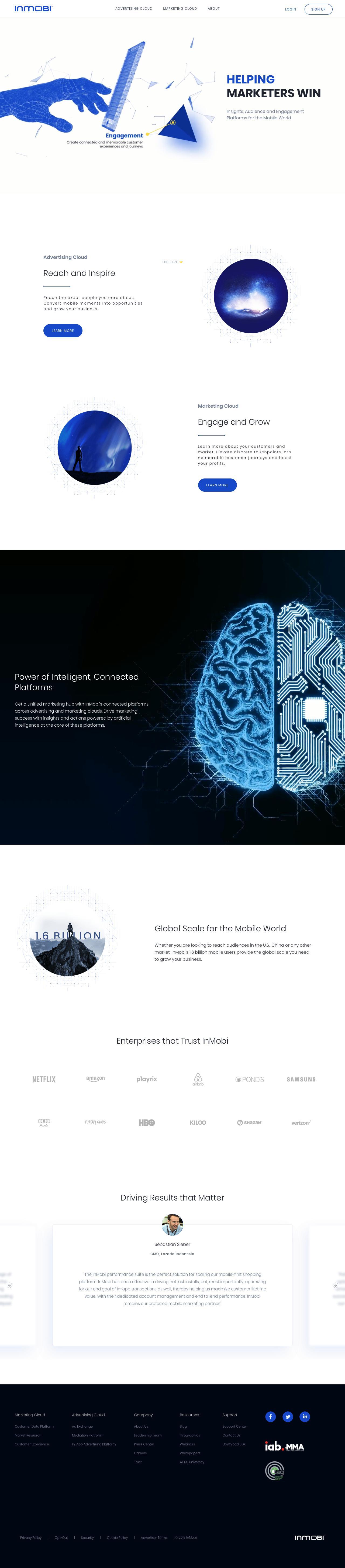 Screenshot of inmobi.com - InMobi | Global provider of cloud based intelligent mobile platforms for enterprise marketers - captured June 28, 2018