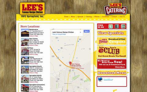 Screenshot of Locations Page leeschicken.net - FRFC Lee's Famous Recipe Chicken   » Serving the Communities of Bellefontaine, New Carlisle, Piqua, Sidney, Springfield - captured Oct. 2, 2014