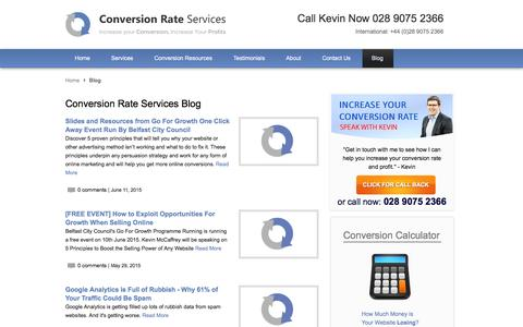 Screenshot of Blog conversion-rate-services.com - Conversion Rate Services Blog - captured Dec. 12, 2015