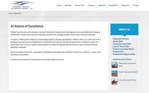 Screenshot of About Page forbes-travel.com - About Us - Forbes Travel - captured Oct. 6, 2014