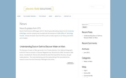 Screenshot of Press Page electricfieldsolutions.com - News | Electric Field Solutions - captured Sept. 29, 2014